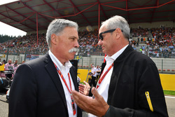 Chase Carey, Chief Executive Officer and Executive Chairman of the Formula One Group and  Jerome Stoll, Director of Renault Sport F1
