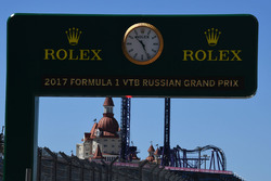 Rolex clock and signage in pit lane