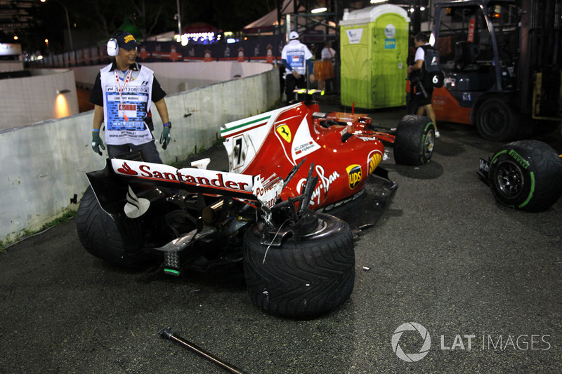 The damaged car of Kimi Raikkonen, Ferrari SF70H after crashing out at the start of the race