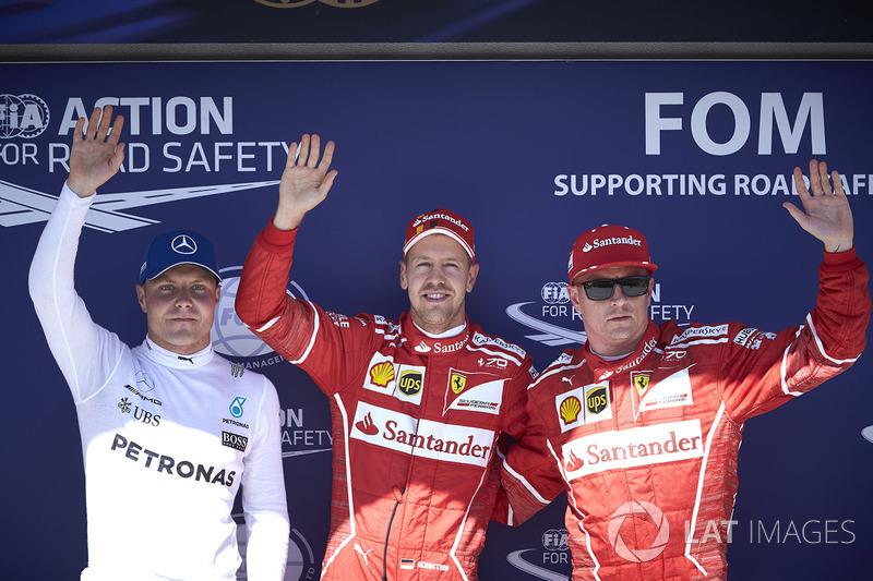 Топ-3 кваліфікації: володар поул-позиції Себастьян Феттель, Ferrari, друге місце Кімі Райкконен, Ferrari, третє місце Валттері Боттас, Mercedes AMG F1
