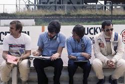 Bernie Ecclestone, Brabham team owner with Gordon Murray, Carlos Reutemann and Carlos Pace