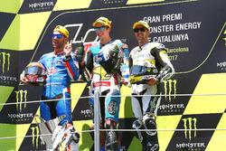 Podium: segundo, Mattia Pasini, Italtrans Racing Team, ganador, Alex Márquez, Marc VDS, tercero, Thomas Luthi, CarXpert Interwetten