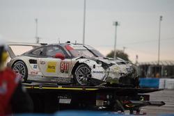 The crashed car of #911 Porsche Team North America Porsche 911 RSR: Nick Tandy, Patrick Pilet, Kevin