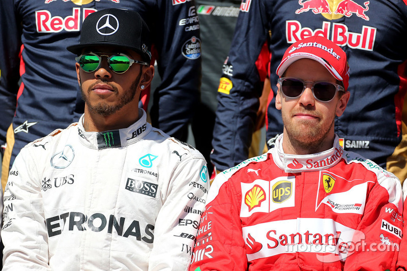Lewis Hamilton, Mercedes AMG F1 Team und Sebastian Vettel, Ferrari