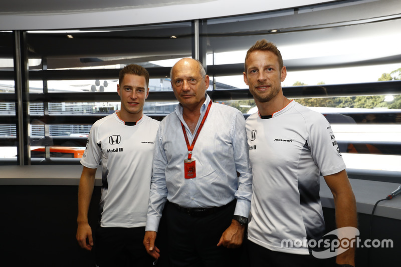 Ron Dennis, Executive Chairman, McLaren Automotive, with Stoffel Vandoorne, Test and Reserve Driver and Jenson Button at the announcement that Jenson will step down from a race seat in 2017 Stoffel Vandoorne will step up into a race seat