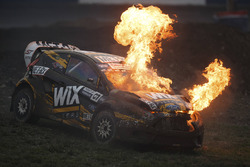 Nelson Piquet Jr., SH Racing Rallycross autója lángokban