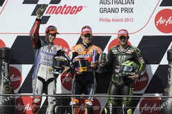 Podium: second place Jorge Lorenzo, Yamaha; Race winner Casey Stoner, Repsol Honda; third place Cal Crutchlow, Tech3
