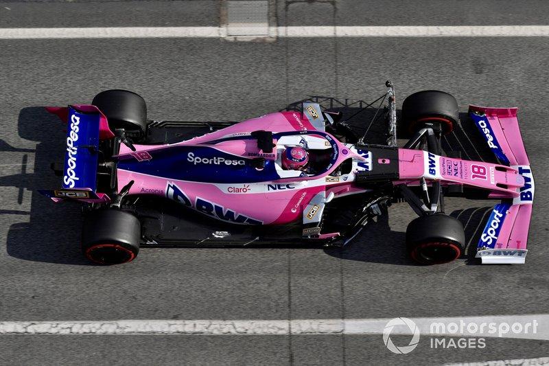 Lance Stroll, SportPesa Racing Point F1 Team RP19, avec un capteur aéro