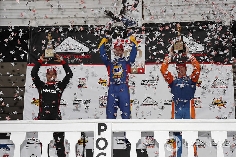 Pocono 2018 winner Alexander Rossi, Andretti Autosport Honda, celebrates with runner-up Will Power, Team Penske Chevrolet, and Scott Dixon, Chip Ganassi Racing Honda.