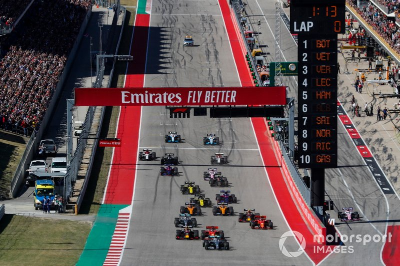 Valtteri Bottas, Mercedes AMG W10, Sebastian Vettel, Ferrari SF90, Max Verstappen, Red Bull Racing RB15, Charles Leclerc, Ferrari SF90, Lewis Hamilton, Mercedes AMG F1 W10, and Alex Albon, Red Bull Racing RB15, lead the field away at the start