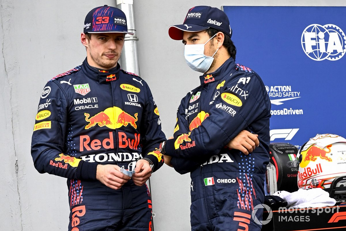 Max Verstappen, Red Bull Racing and Sergio Perez, Red Bull Racing in Parc Ferme