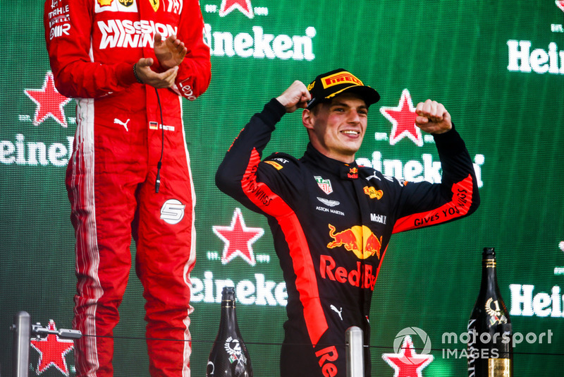 Max Verstappen, Red Bull Racing, 1st position, celebrates victory on the podium