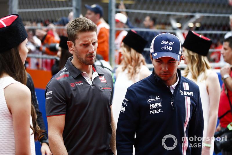 Romain Grosjean, Haas F1 Team, Sergio Pérez, Racing Point Force India