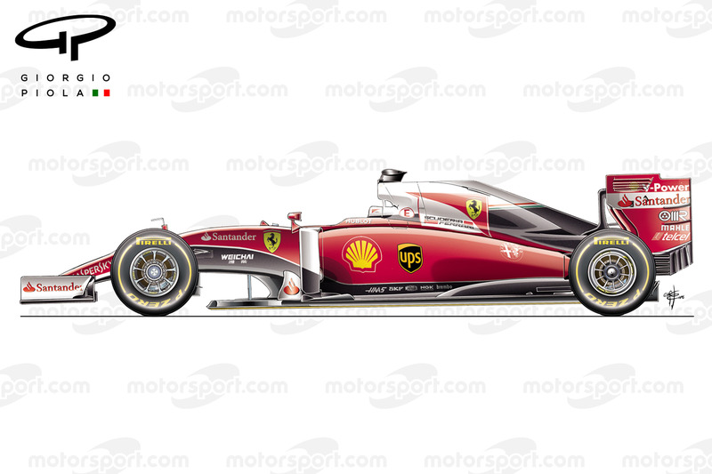 """Possible rendering of the Ferrari F1 2016 with a """"1975"""" livery highlighted with white areas"""