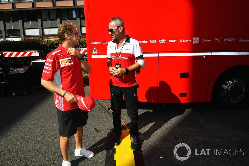 Sebastian Vettel, Ferrari and Beat Zehnder, Sauber Manager