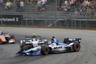 Max Chilton, Carlin Chevrolet spins Takuma Sato, Rahal Letterman Lanigan Racing Honda, crash