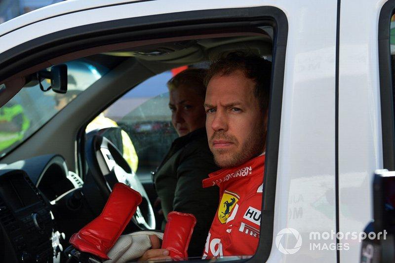Sebastian Vettel, Ferrari after stopping on track