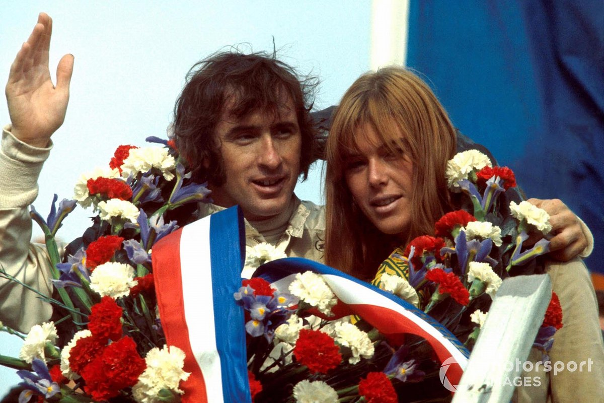 Winner Jackie Stewart, Matra, with his wife Helen Stewart