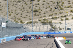 Austin Dillon, Richard Childress Racing Chevrolet and Erik Jones, Joe Gibbs Racing Toyota lead the field on a restart