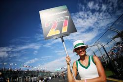 Grid girl for Nico Hulkenberg, Renault Sport F1 Team