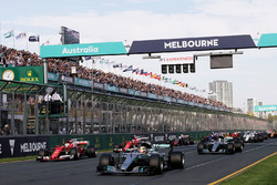 Lewis Hamilton, Mercedes AMG F1 W08 leads at the start of the race