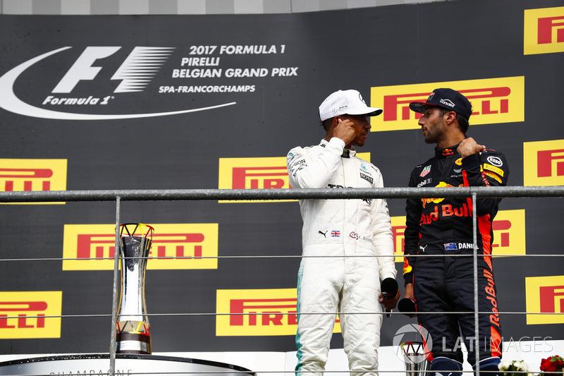 Podium: Race winner Lewis Hamilton, Mercedes AMG F1, Daniel Ricciardo, Red Bull Racing