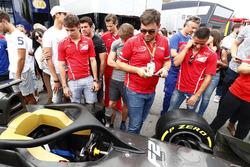 Charles Leclerc, PREMA Powerteam, and Antonio Fuoco, PREMA Powerteam, check out the new F2 car