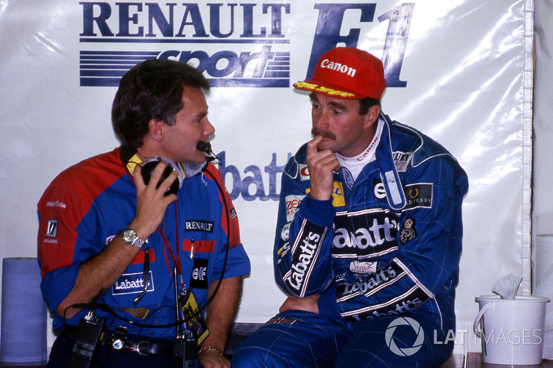 Nigel Mansell, Williams et Peter Windsor, manager sponsor Williams