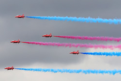 The Red Arrows fly over Silverstone