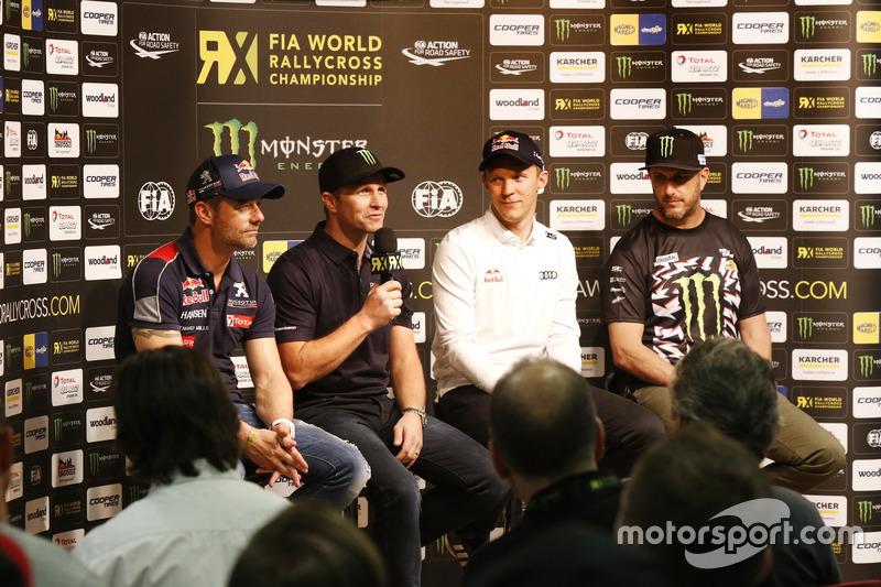 Sebastien Loeb, Team Peugeot-Hansen, Peugeot 208 WRX; Petter Solberg, PSRX Volkswagen Sweden, VW Polo GTi; Mattias Ekström, EKS, Audi S1 EKS RX Quattro; Ken Block, Hoonigan Racing Division, Ford Focus RSRX