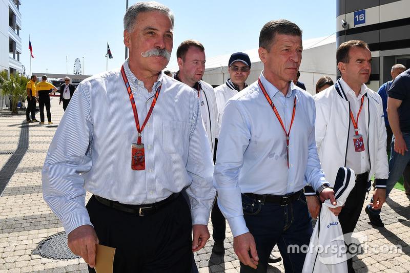 Chase Carey, Chief Executive Officer and Executive Chairman of the Formula One Group, Dmitry Kozak, Deputy Prime Minister of the Russian Federation, Veniamin Kondrytyev, Governor of Krasnodar Region
