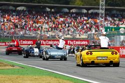 Marcus Ericsson, Sauber, behind Charles Leclerc, Sauber, Kevin Magnussen, Haas F1 Team, and Kimi Raikkonen, Ferrari, at drivers parade