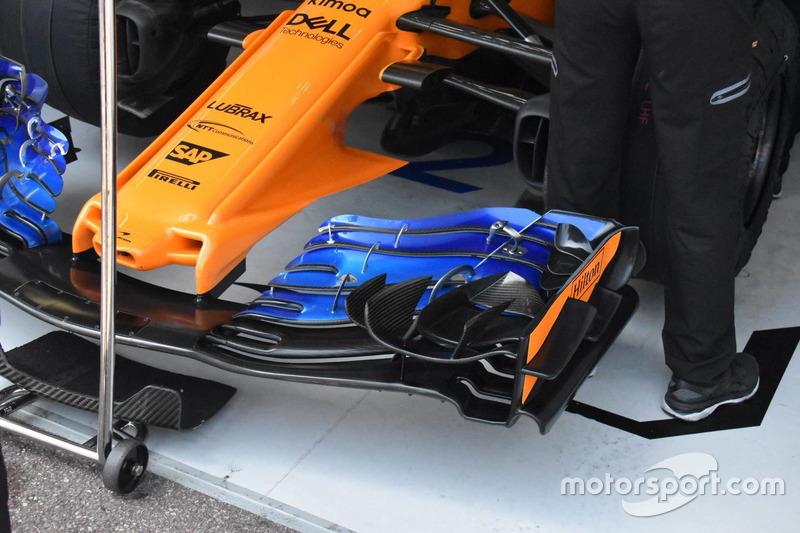 McLaren MCL33, dettaglio della vecchia versione dell'ala anteriore