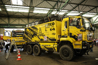 A MAN truck is prepared in Le Havre for the long trip to Lima, Peru