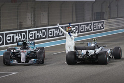 Second place Lewis Hamilton, Mercedes AMG F1, Race winner Valtteri Bottas, Mercedes AMG F1