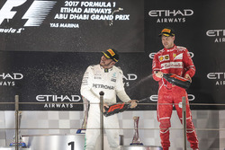 Podium: second place Lewis Hamilton, Mercedes AMG F1, third place Sebastian Vettel, Ferrari