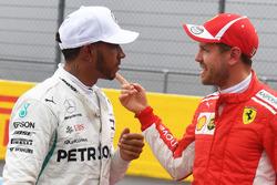 Polesitter Lewis Hamilton, Mercedes AMG F1, third place Sebastian Vettel, Ferrari