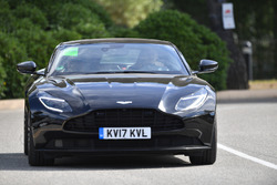 Max Verstappen, Red Bull Racing arrives in an Aston Martin DB11