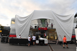 Sauber motorhome and freight