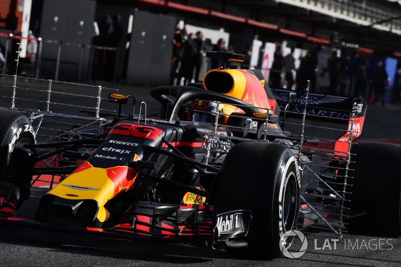 Max Verstappen, Red Bull Racing RB14 dengan sensor aerodinamika