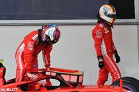 Kimi Raikkonen, Ferrari and Sebastian Vettel, Ferrari in parc ferme