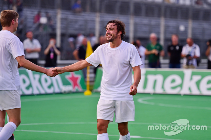 (L to R): Max Verstappen, Red Bull Racing and Fernando Alonso, McLaren at the charity 5-a-side footb