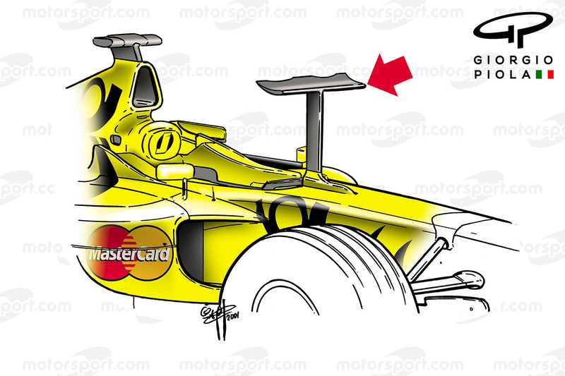 Jordan EJ11 dengan winglet unik, GP Monako 2001