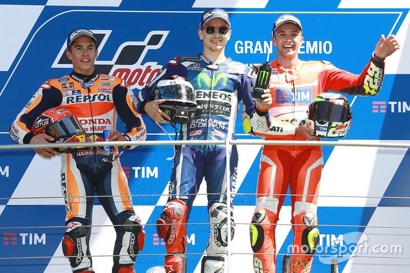 2016: 1. Jorge Lorenzo, 2. Marc Marquez, 3. Andrea Iannone