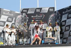 Podium main race: Winner Laurens Vanthoor, Frederic Vervisch, Audi R8 LMS, Belgian Audi Club Team WRT; second place Maximilian Buhk, Dominik Baumann, Mercedes-AMG GT3, HTP Motorsport; third place Philipp Eng, Alexander Sims, BMW M6 GT3, Rowe Racing