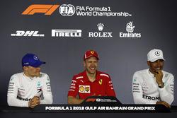 Press conference: race winner Sebastian Vettel, Ferrari, second place Valtteri Bottas, Mercedes-AMG F1, third place Lewis Hamilton, Mercedes AMG F1