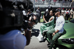 Lewis Hamilton, Mercedes AMG F1 with Russell Wilson