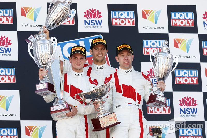 Podium: race winner Robin Frijns, Stuart Leonard, Dries Vanthoor, Audi Sport Team WRT