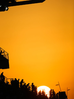 Grandstand over looking the track during sunset