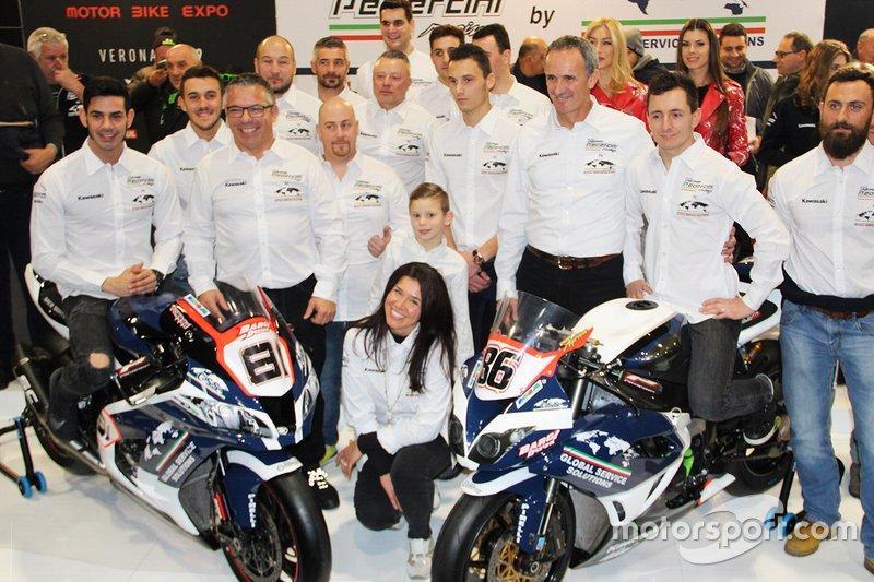 Ayrton Badovini, Jordi Torres, with the Pedercini Racing members